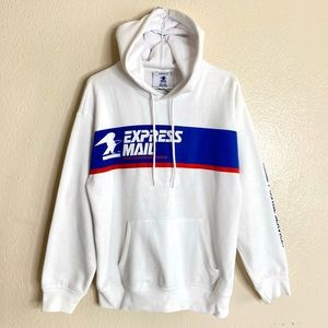 Forever21 USPS Hoodie Drawstring White Size Small